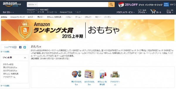Amazonランキング大賞2015 おもちゃ